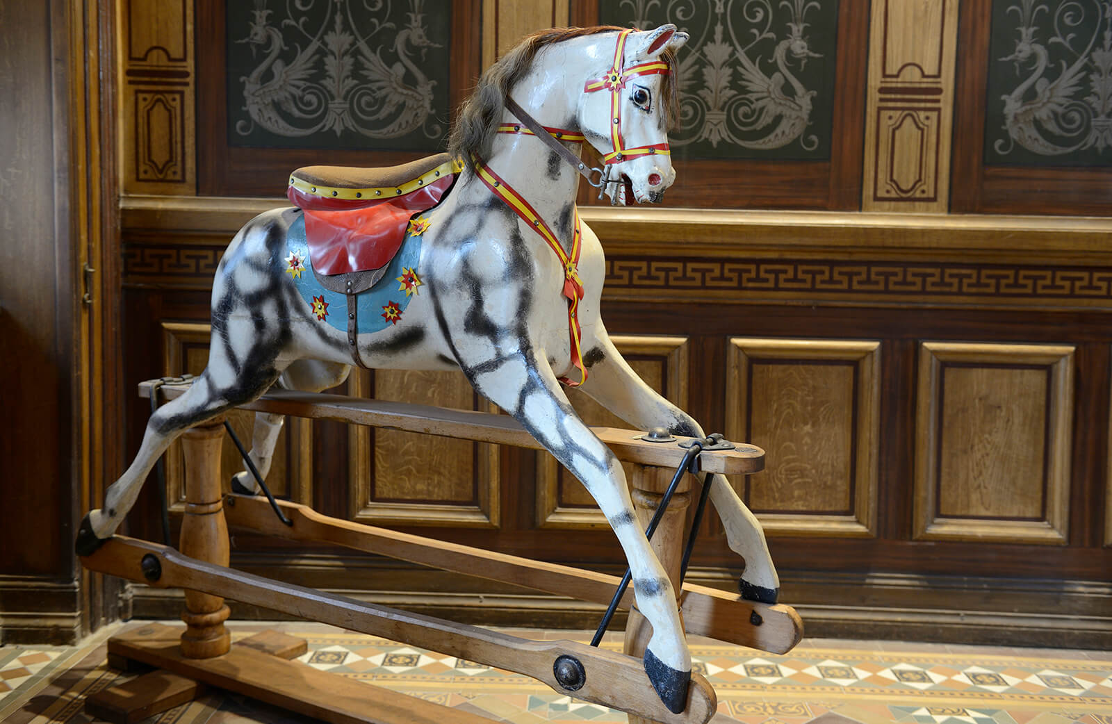 Vintage rocking horse at Benaki Toy Museum, Faliro, Athens