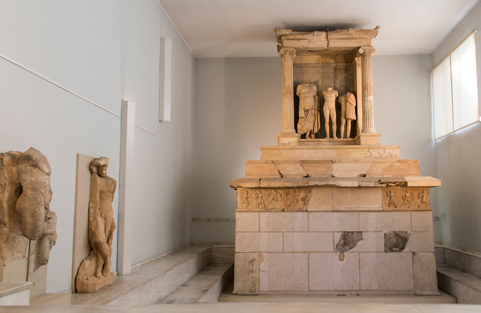 The grave monument of Kallithea (4th century BC). | Courtesy: Archaeological Museum of Piraeus.