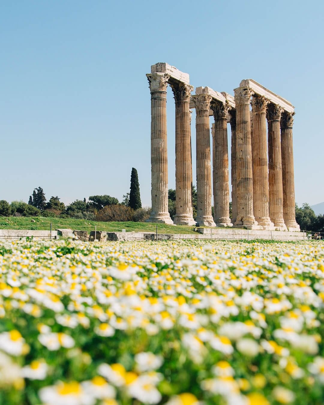 temple of olympian zeus athens greece spring
