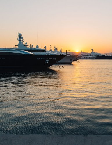 luxury boats moored in Faliro, Athens
