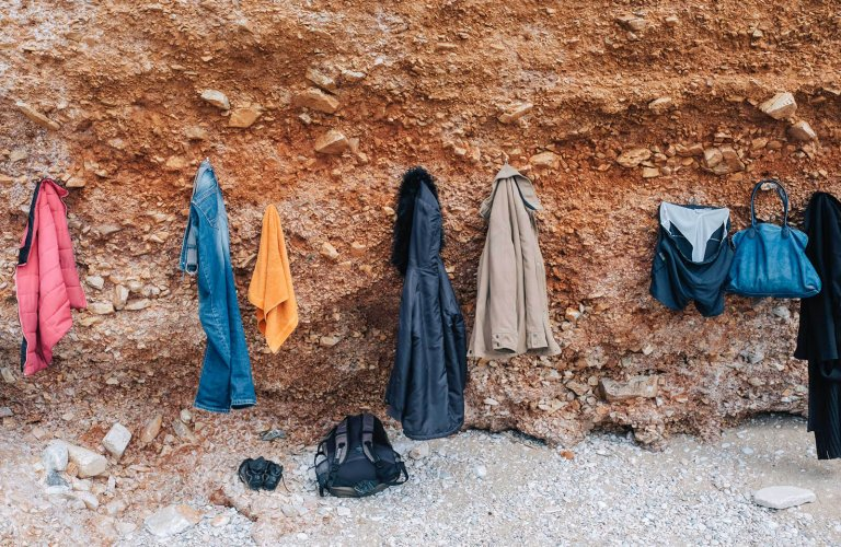 Poseidon Winter Swimmers hanging clothes in Vouliagmeni.