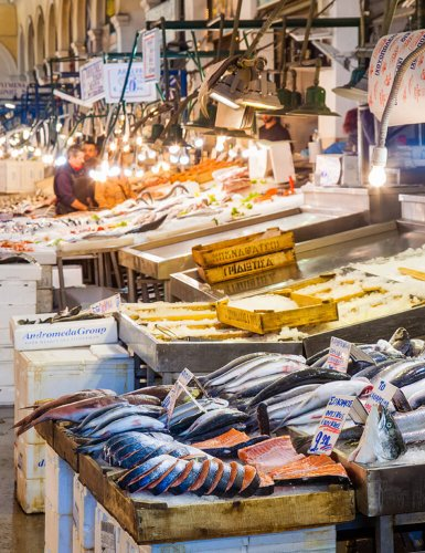 fish stalls in a fish market