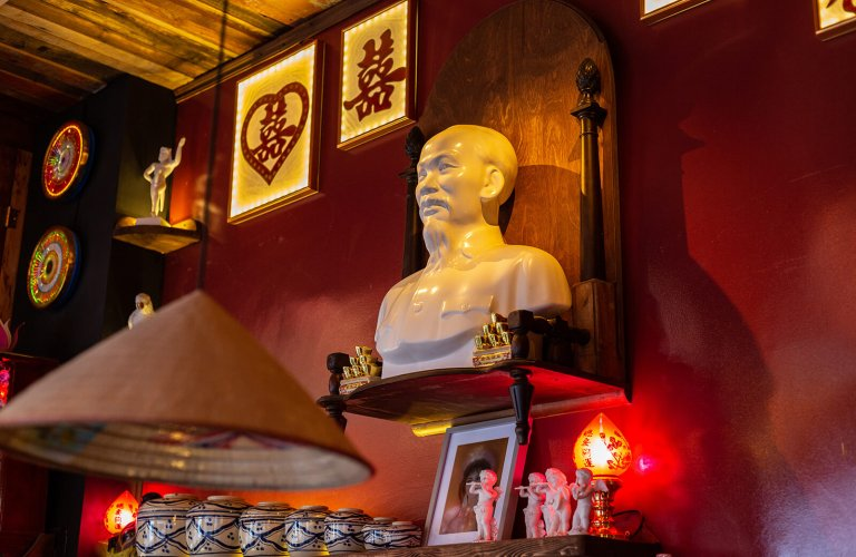Bust of Ho Chi Minh in a Vietnamese restaurant