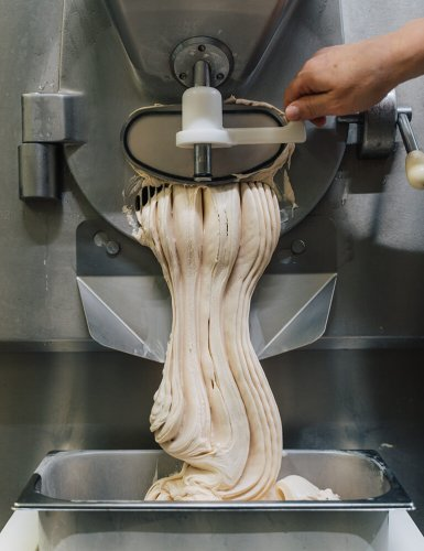 ice cream coming out of an ice cream machine