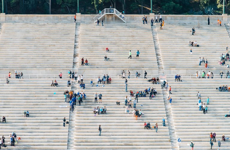The bleachers at the Panathianic stadium in Athens filling up for the Marathon.
