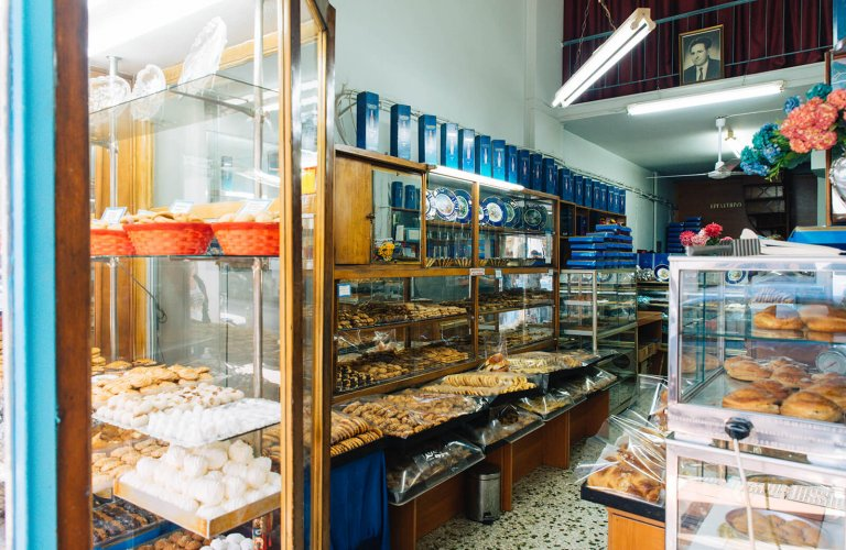 A pastry shop full of Greek desserts in Athens.
