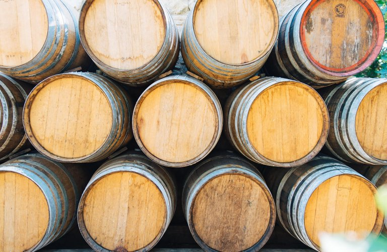 wooden barrels at Markou vineyard