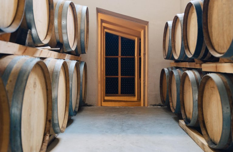 wooden barrels at Mylonas winery
