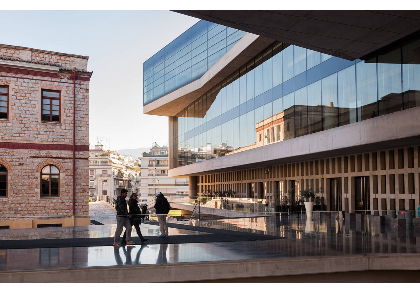people outside the Acropolis Museum in Athens