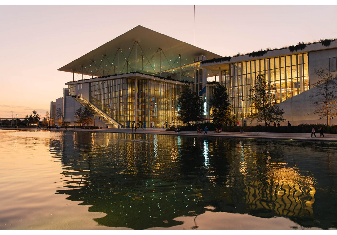 The stavros niarchos foundation cultural center and its canal at susnet.