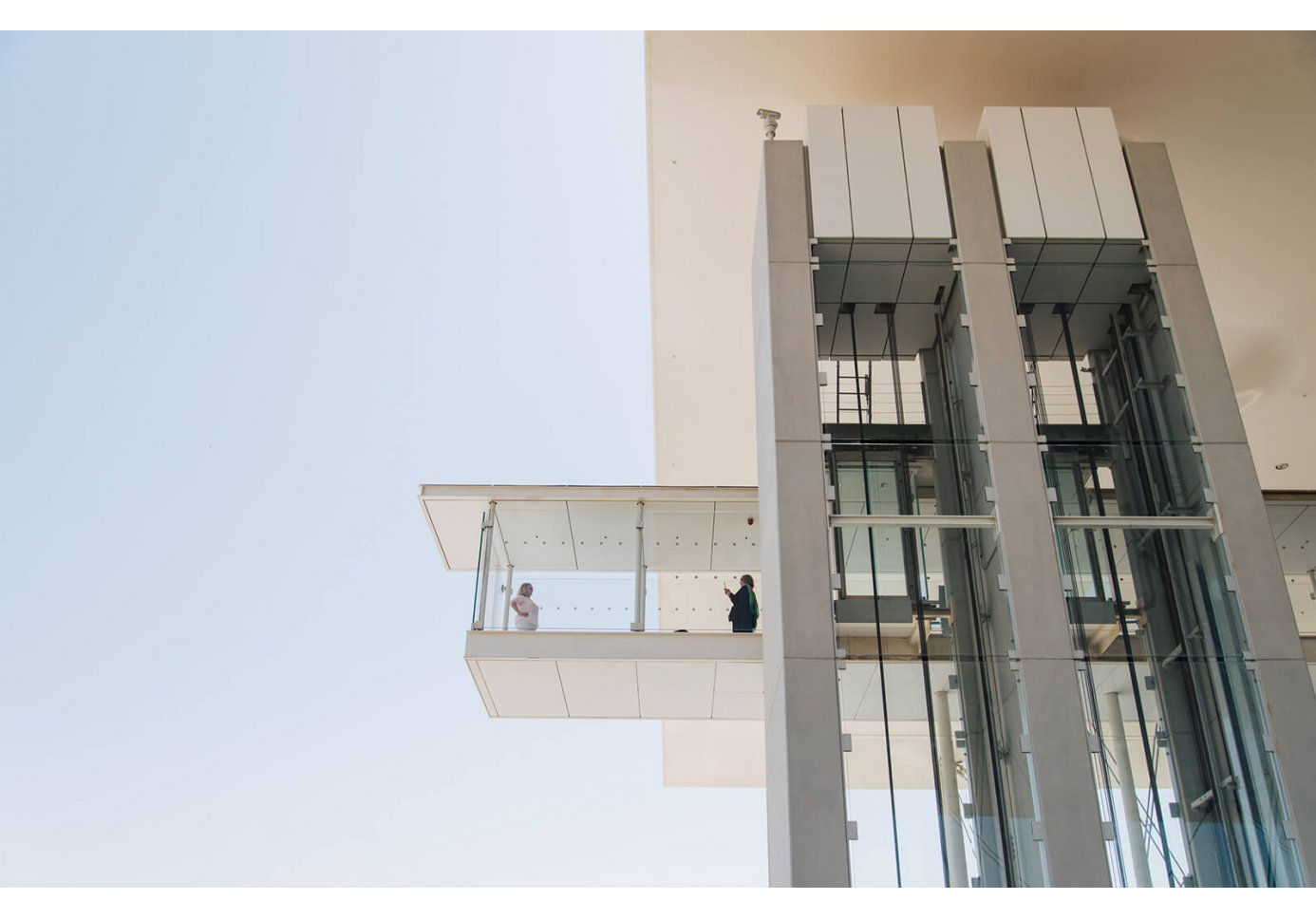 People at the elevator viewpoint at Stavros Niarchos Foundation Cultural Centre in Athens